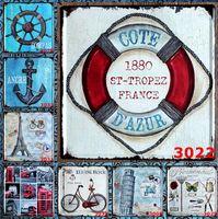 anchor wall decoration - 2016 cm sailor anchor steer tower Tin Sign Coffee Shop Bar Restaurant Wall Art decoration Bar Metal Paintings