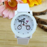 bicycle wrist watch - Cute Bicycle Pattern Lady Women Girls Wrist Watch Leather Strap Quartz Movt Round Watch Candy Colors XE