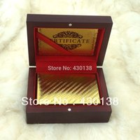 Wholesale Normal Plain style Gold Playing Cards in wooden box with Certificate by Fedex UPS TOLL