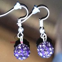 ball earrings dark crystal - New mm sexy disco ball charm dark violet Earrings Statement Jewelry Drop earrings fashion for women Do a beautiful queen