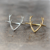 antlers sale - 10PCS R005 hot sale Simple Deer Antler stag ring reindeer deer horn ring cute animal ring buckhorn ring jewelry