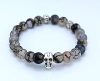 Wholesale 2015 new bead bracelet natural gray dragon vein agate beads silver bracelet skull gifts for men