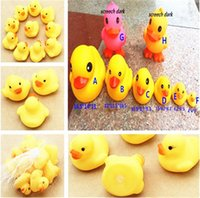 Wholesale 8 size Cheap Baby Bath Water Toy toys Sounds Yellow Rubber Ducks Kids Bathe Children Swimming Beach Gifts