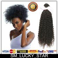 Promoción! Brasileña Malasia peruana india virginal del pelo rizado Rizos Bundles sin procesar del pelo humano Extensiones Tejidos puede teñir
