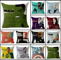 Wholesale Marvel Avengers Age of Ultron super heros Pillow Cover Iron Man Black Widow Cushion Cover Pillow Case Home Decoration HX