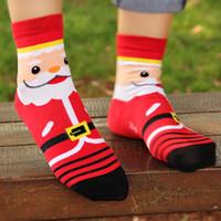 Wholesale Newest D Pritned Women Christmas Designer Cartoon Dress Santa Claus Bear Deer Snowman Socks Winter Wool Socks Xmas Socks Women