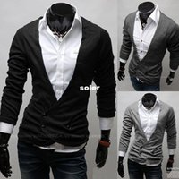 Wholesale Men s Long sleeve cotton sweater button v neck casual clothing