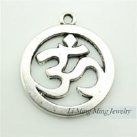 Wholesale 10pcs mm Antique Bronze Silver Zinc Alloy OM Yoga Charms Pendant Fit DIY Metal Jewelry Making