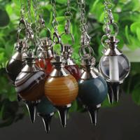 Wholesale Silver Plated Mix Order Quartz Crystal Stone Healing Point Chakra Pendulum Dowsing Pendant Charm Jewelry