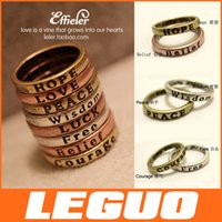 fashion rings - Alloy MAKE WISH carve characters Lady Ring Women PRAY Fashion vintage Love luck etc Rings Finger Rings jewelry Crazy Hot DHL