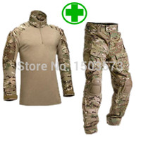 Cheap Wholesale-Tactical Camouflage Military Uniform Clothes Suit Men US Army Multicam Hunting Military Combat Shirt + Cargo Pants Knee Pads