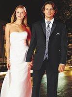 azul beach - Traje de Novio Azul Elegant Black Jacket Beach Wedding Suit Vest Groom Tuxedos Groomsmen Best Man Suit Men Wedding Suits Jacket Pants Vest