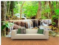 Wholesale Customize size Forest waterfall wallpaper wall sticker wallpaper mural wallpaper non wvoen wallpaper factory direct20154543