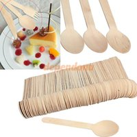 Wholesale 100x Economical Disposable Wooden Western Food Spoons Tableware Cutlery