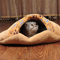 Cheap 100% Brand New Soft Pet Sleeping Bag Warm Dog Cat Nest Bed Practical Indoor Pet Mat Coral Fleece Cushion Pet Supply H15803