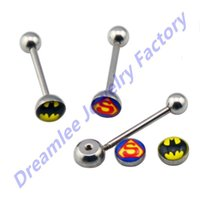 batman barbell - Dreamlee pc Superman Tongue Barbell amp Batman Tongue Ring Logo Piercing Jewelry The Hero Coming