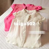 Cheap HOT sell children's baby clothing vintage chest jacquard elegant short-sleeve shirt kid blouse pink beige 6pcs lot brand name