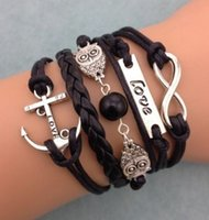 ancor chain - NEW Infinity Owl Love ancor Friendship Leather Charm Bracelet Silver Cute
