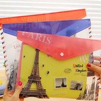 Wholesale 12 PVC Eiffel Tower A4 Floder for Docouments Holder File Folder for Paper Buckles Embossing Folder Envelope Bag Office Supplies