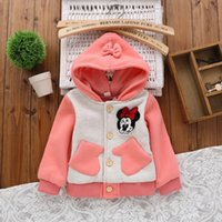 Cheap Miki Minnie Mouse Children Girls Coat 2014 Autumn Hoodies Butterfly Cartoon Outwear Lovely Childs Cotton Pocket Jacket Tops 3 Colors H1681
