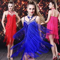 Wholesale Sexy Ladies Night Club Cocktail Party Ballroom Latin Dance Beadings Fringe Dress CL7261