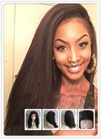 african jet - Indian remy hair italian yaki lace front wigs human hair Swiis lace jet off black color for African American