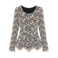 Cheap Elegant Women Lace Blouse Long Sleeve Peplum Slim Basic Shirt Tops blusa de renda ladies office shirt clothing Beige