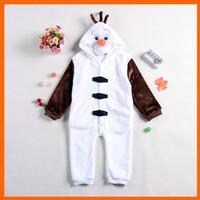 pajamas for children - Kids Winter New Costumes Children Lovely Olaf Snowman Pajamas Girls Onesie Boys Party Dress for Unisex