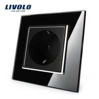 Wholesale Sweet home Livolo EU Power Socket Black Crystal Glass Panel A EU Standard Wall Outlet without Plug VL C7C1EU