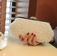 Wholesale 2015 Desinger Pearl Crystal Bridal Hand Bags Bridal Accessory Womens Evening Wedding Party Clutch Bag White Ivory