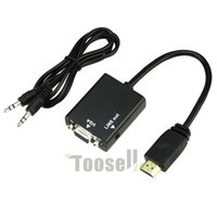 audio cables projectors - HDMI Male to VGA Female Video with Audio Output Cable p HD Converter Adapter for PC DVD Monitor Projector TV Xbox Hot Selling