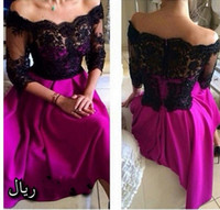 Wholesale Sexy short party dresses black lace see through off shoulder half sleeve fuchsia short prom evening gowns arabic women dresses BO8329