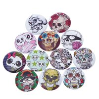 Wholesale 100PCs Holes Mixed Wooden Sewing Buttons Skull Pattern Scrapbooking mm Scrapbooking Sewing Accessories Supplies For Craft