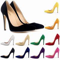Wholesale 2016 new neon color high heel women pumps genuine leather shoes stiletto heels cm cm red sole heels
