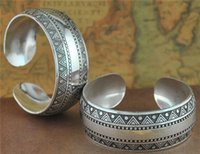 antique metal plate - Vintage Tibetan Antique Silver Bangles silver plated metal carved Triangle opening bangle Bracelets