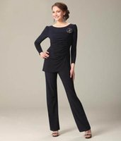 mother of the bride dress - 2015 Spring Summer Mother of the Bride Dresses Long Sleeves Plus Size Chiffon Black Pant Suits Two Pieces Custom Made Wedding Groom Cheap