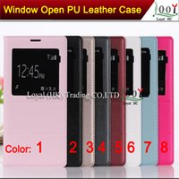 Wholesale 1 Official S View Open Window Flip Leather PU Case Skin Back Battery housing Cover for Samsung GALAXY Note With Retail Box