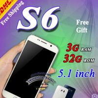 Wholesale Metal body s6 phone Octa core Android s6 edge phone G Ram G Rom G920F MTK6582 Quad core S6 Mobile phone DHL Free
