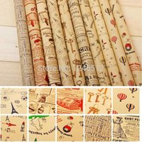 Wholesale 2016 new Double Size Wrapping Paper Vintage Newspaper Gift Wrap Artware packing Package Paper Christmas Kraft Paper cm free shopping