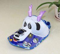 Wholesale Summer children s solar fan cap cartoon panda plastic sun hat plastic cap