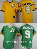 army athletic shorts - 2015 New Men s Oakland Athletics Jersey Reggie Jackson Yellow Green Throwback Retro Oakland A s Baseball Jerseys Shirts