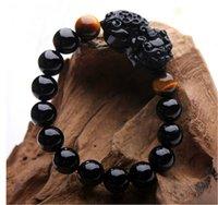 Cheap Free shipping -black tourmaline the Brave troops tiger eye stone charm bracelet