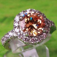 Wholesale AR5 Round Cut Morganite White Topaz Gemstone Ring Silver Rings Size Crystal Wedding Ring A0025
