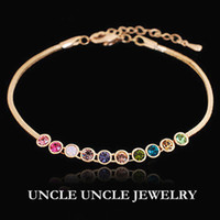 Wholesale Beautiful Gift K Rose Gold Plated Multicolour Candy Austrian Crystals Strand Lady Bracelet