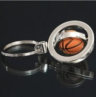 souvenir keychain - key ring key chain Metal basketball football keychain souvenir gift rotating key ring