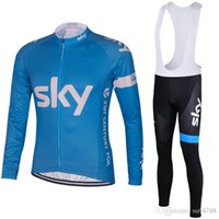 Wholesale 2015 sky Pro team Winter Thermal Fleece Pro long Cycling Jerseys Ropa Ciclismo cycling clothes bib long pants Sets winter cycling clothing