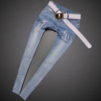 american comfort pants - Women Jeans Pocket Scratched Panelled Comfort Character Design Europe Station New Personalized Fashion Feet Female Trousers
