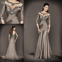 Wholesale 2015 Mother of the Bride Dresses plus size dresses mother bride With Mermaid Beading Half Sleeve Chapel Train Grey Satin