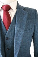 100% wool suits - 100 high quality Retro Light colored Blue tweed custom made Groom Tuxedos mens piece suits slim fit tailor made wedding suits for men