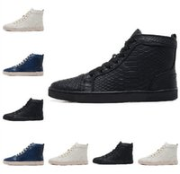 Wholesale Size Black Snake Leather High Top Red Bottom Fashion Sneakers For Man and Women Unisex Luxury Brand Winter Casual Shoes